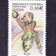 Sellos: ANDORRA FR. 569 SIN CHARNELA, TEMA EUROPA 2002, EL CIRCO. Lote 10587125