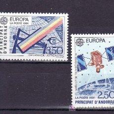 Sellos: ANDORRA FR. 402/3 SIN CHARNELA, TEMA EUROPA 1991, EUROPA Y EL ESPACIO, . Lote 10587212