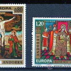 Sellos: ANDORRA FRANCESA AÑO 1975 YV 243/44*** EUROPA - HISTORIA - PINTURA - RELIGIÓN. Lote 26519743