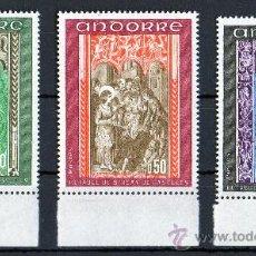 Sellos: ANDORRA FRANCESA AÑO 1971 YV 214/16*** RETABLO SAN JUAN DE CASELLES - PINTURA - RELIGIÓN. Lote 26604265