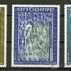 Sellos: ANDORRA FRANCESA AÑO 1972 YV 221/23*** RETABLO SAN JUAN DE CASELLES - PINTURA - RELIGIÓN. Lote 26604266