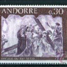 Sellos: ANDORRA FRANCESA AÑO 1968 YV 191/93*** PINTURA MURAL DEL SIGLO XVI - ARTE - RELIGIÓN. Lote 15691697