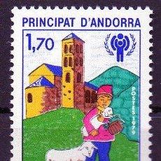 Sellos: ANDORRA FRANCESA AÑO 1979 YV 279*** AÑO INTERNACIONAL DEL NIÑO - FAUNA - IGLESIAS - RELIGIÓN. Lote 15692086