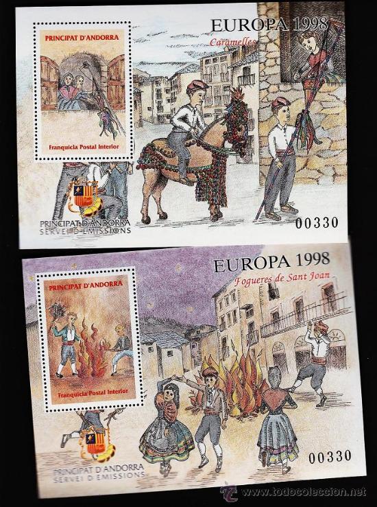 ANDORRA.-VEGUERIA EPISCOPAL.- EUROPA.- CARAMELLES I FOGUERES DE S. JOAN.-2 HOJITAS S. COM. AÑO 1998 (Sellos - Extranjero - Europa - Andorra)