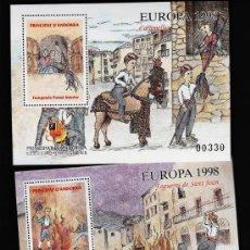 Sellos: ANDORRA.-VEGUERIA EPISCOPAL.- EUROPA.- CARAMELLES I FOGUERES DE S. JOAN.-2 HOJITAS S. COM. AÑO 1998. Lote 47574717