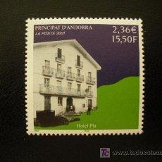 Sellos: ANDORRA FRANCESA 2001 IVERT 553 *** HOTEL PLA - PAISAJES Y MONUMENTOS. Lote 19408000