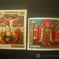 Sellos: ANDORRA FRANCESA 1975 IVERT 243/4 *** EUROPA - FRESCOS IGLESIA DE LA CORTINADA - PINTURA - RELIGION. Lote 22427765