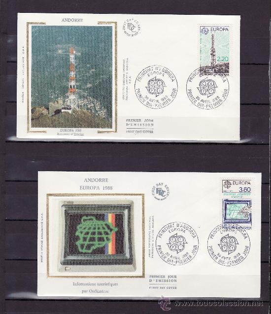 ANDORRA FR. 369/70 O.P.P. PRIMER DIA, TEMA EUROPA, TRANSPORTES Y COMUNICACIONES (Sellos - Extranjero - Europa - Andorra)