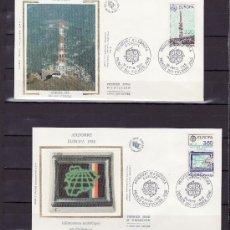 Sellos: ANDORRA FR. 369/70 O.P.P. PRIMER DIA, TEMA EUROPA, TRANSPORTES Y COMUNICACIONES . Lote 22626816