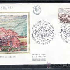 Sellos: ANDORRA FR. 291 O.P.P. PRIMER DIA, ARQUITECTURA, BORDES DE MEREIG . Lote 22627354