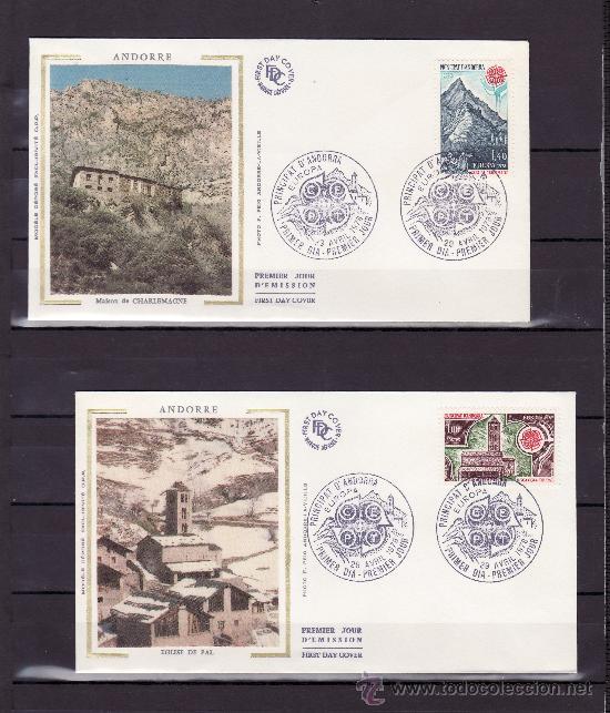 ANDORRA FR. 269/70 O.P.P. PRIMER DIA, TEMA EUROPA, MONUMENTOS, IGLESIA DE PAL, CASA CARLOSMAGNO (Sellos - Extranjero - Europa - Andorra)