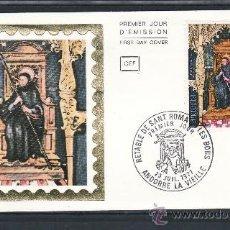 Sellos: ANDORRA FR. 264 CEF PRIMER DIA, RETABLO DE LA CAPILLA SAINT-ROMA EN EL PUEBLO DE BONS . Lote 22627808