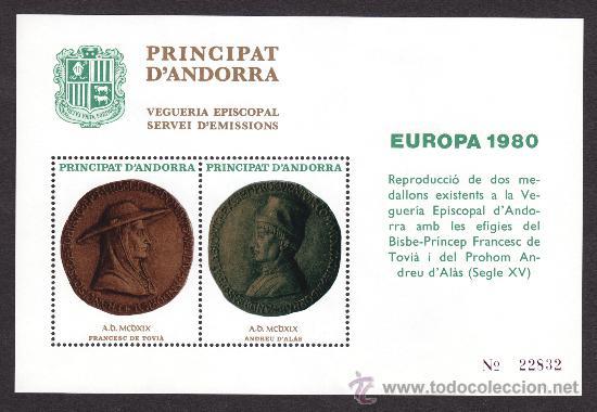 ** ANDORRA VEGUERIA EPISCOPAL EUROPA MEDALLA TOVIA Y ALAS 1980 (Sellos - Extranjero - Europa - Andorra)