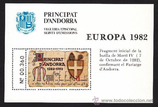 ** ANDORRA VEGUERIA EPISCOPAL EUROPA FRAGMENTO INICIAL DE LA BULA DE MARTIN IV 1982 (Sellos - Extranjero - Europa - Andorra)