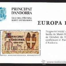 Sellos: ** ANDORRA VEGUERIA EPISCOPAL EUROPA FRAGMENTO INICIAL DE LA BULA DE MARTIN IV 1982. Lote 26541354