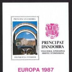 Sellos: ** ANDORRA VEGUERIA EPISCOPAL EUROPA SANTUARIO DE N.S. DE MERITXEL 1987. Lote 26541495