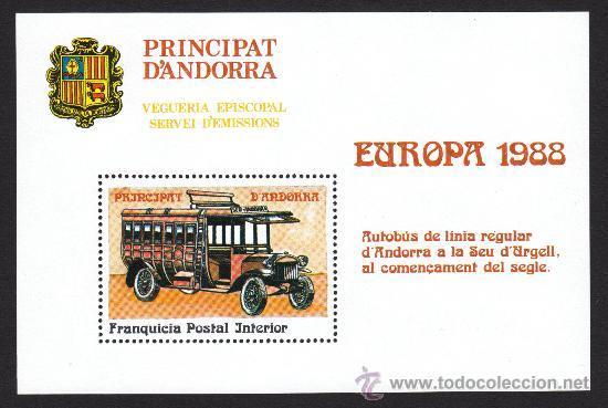 ** ANDORRA VEGUERIA EPISCOPAL EUROPA AUTOBUS ANTIGUO 1988 (Sellos - Extranjero - Europa - Andorra)