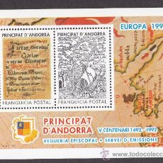 Sellos: ** ANDORRA VEGUERIA EPISCOPAL EUROPA V CENTENARIO 1492-1992 1993. Lote 26541770