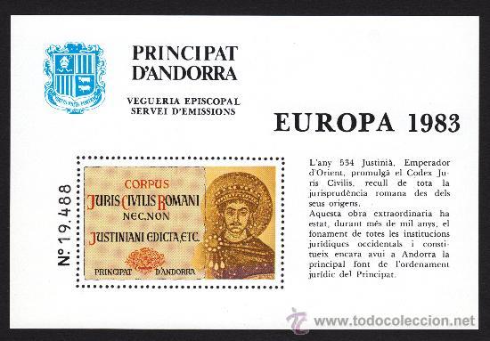 ** ANDORRA VEGUERIA EPISCOPAL EUROPA CODIGO CODICE DE JUSTINIANO 1983 (Sellos - Extranjero - Europa - Andorra)