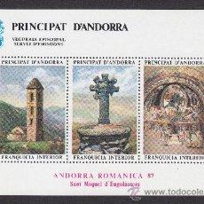 Sellos: ** ANDORRA VEGUERIA EPISCOPAL ARTE ROMANICO IGLESIA DE SANT MIQUEL DE ENGOLASTERS 1987. Lote 26542222
