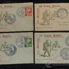 Sellos: LOTE DE 4 SOBRES DEL XXV ANIVERSARI DEL CORREU FRANCÈS. VALLS D' ANDORRA. 1931 - 1956. . Lote 29354249
