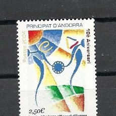 Sellos: ANDORRA CORREO FRANCES 2004, ANFIL Nº 602**, 10 ANIVERSARIO DEL INGRESO CONSEJO DE EUROPA. Lote 262148230