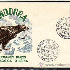 Sellos: PRIMER DIA ANDORRA III CONGRES PARCS ZOOLÓGICS D'IBERIA - ANDORRA ESPAÑOLA 1972. Lote 31191571