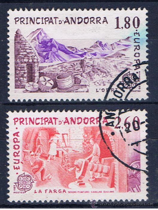 ANDORRA FRANCESA EUROPA 1983 EDIFIL 334-5 USADOS SERIE COMPLETA MATASELLOS GEMELOS (Sellos - Extranjero - Europa - Andorra)