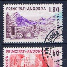Sellos: ANDORRA FRANCESA EUROPA 1983 EDIFIL 334-5 USADOS SERIE COMPLETA MATASELLOS GEMELOS. Lote 31937468