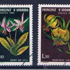 Sellos: ANDORRA FRANCESA FLORES 1980 EDIFIL 334-5 USADOS SERIE COMPLETA . Lote 31937514