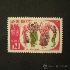 Sellos: ANDORRA FRANCESA 1963 IVERT 166 *** FOLCLORE ANDORRANO - LA SARDANA. Lote 31882236