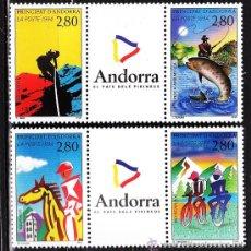 Sellos: ANDORRA FRANCESA - TURISMO Y DEPORTES - BICI/EQUITACION/PESCA/ESCALADA - 4VAL -S.C.-NUEVA - AÑO 1994. Lote 31912649