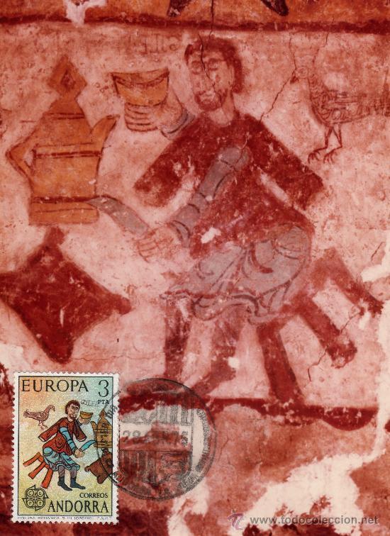 ANDORRA 3 PTS, Nº 97 CAT. EDIFIL + FOT. PINTURA ORIGINAL ROMANICA + MATASELLOS 1ER. DIA 28-4-1975 (Sellos - Extranjero - Europa - Andorra)