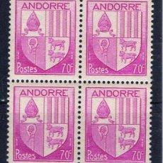 Sellos: ESCUDO ANDORRA 1948 EDIFIL 100 NUEVO** BLOQUE DE 4. Lote 37553477