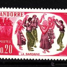 Sellos: ANDORRA 166* - AÑO 1963 - FOLKLORE - DANZA - LA SARDANA. Lote 43637530