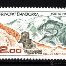 Sellos: ANDORRA 338** - AÑO 1985 - PAISAJES DE ANDORRA - VALLE DE SAN JULIA. Lote 43660739