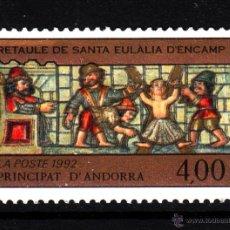 Sellos: ANDORRA 422** - AÑO 1992 - PINTURA - RETABLO DE SANTA EULALIA DE ENCAMP. Lote 43824589