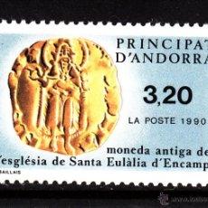 Sellos: ANDORRA 397** - AÑO 1990 - MONEDA ANTIGUA DE LA IGLESIA DE SANTA EULALIA DE ENCAMP. Lote 43890076