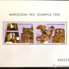 Sellos: SELLOS DE ANDORRA. BARCELONA SEDE OLIMPICA 1992. HOJITA DENTADA. . Lote 44295471