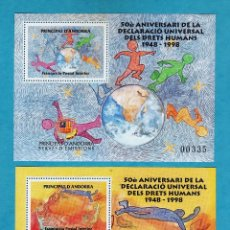 Sellos: ANDORRA - VEGUERIA EPISCOPAL - 50 ANIV. DRETS HUMANS - 2 HB / HOJITAS - NUVAS - SC - AÑO 1998. Lote 47581930