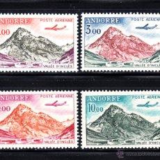 Sellos: ANDORRA AEREO 5/8** - AÑO 1961 - AVION CARAVELLE Y VALLE DE INCLES. Lote 52567948