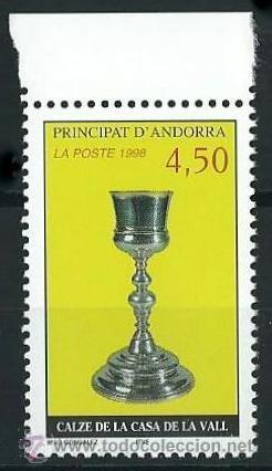 ANDORRA FRANCESA 1998 YVERT 506 CALIZ DE LA CASA DE LA VALL (Sellos - Extranjero - Europa - Andorra)