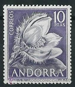 ANDORRA ESPAÑOLA 1966 FLORES 10 PTS EDIFIL 71 (Sellos - Extranjero - Europa - Andorra)