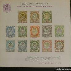 Timbres: ANDORRA 1978 - PROVES DE SEGELLS - VEGUERIA EPISCOPAL - BLOCK. Lote 72152343