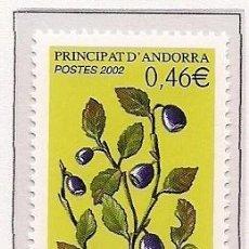 Sellos: ANDORRA FRANCESA 2002 - FLORA - FRUTOS - MIRTILLA - YVERT Nº 570**. Lote 269735528
