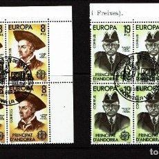 Sellos: EUROPA - ANDORRA BLOQUE DE CUATRO CON MATASELLO PRIMER DIA DE CIRCULACIÓN EDIFIL Nº 133/4, 1980.. Lote 108372275