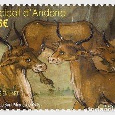 Sellos: SPANISH ANDORRA 2017 - ANIMALS IN ART - BULLS - ALTARPIECE OF SANT MIQUEL DE PRATS MNH. Lote 110247484