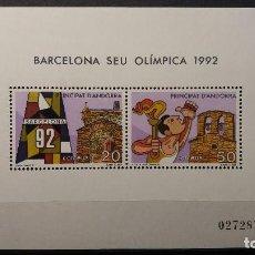 Sellos: SELLO NUEVO ANDORRA ESPAÑOLA 1987. HOJITA SELLOS BARCELONA SEDE OLIMPICA 92. 15 DE MAYO DE 1987. Lote 111233643
