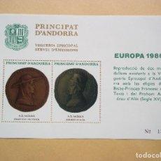 Sellos: HOJA DE BLOQUE PRINCIPAT D ANDORA 1980 NUEVO CON GOMA. Lote 115039311
