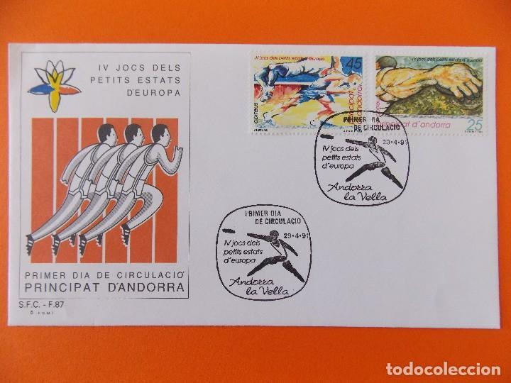 MATASELLOS IV JOCS DELS PETITS ESTATS D'EUROPA.1991 -PRINCIPAT D'ANDORRA - SOBRE PRIMER DIA .R- 8887 (Sellos - Extranjero - Europa - Andorra)